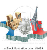 Vector Illustration of the Basilica of the Sacred Heart, Eiffel Tower, and the Notre Dame De Paris Cathedral by AtStockIllustration