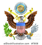Vector Illustration of the Great Seal of the United States Bald Eagle with an American Flag Shield, Holding an Olive Branch and Arrows, with E Pluribus Unum Scroll and Stars by AtStockIllustration