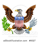 Vector Illustration of the Great Seal of the United States Bald Eagle with an American USA Flag Shield, Holding an Olive Branch and Silver Arrows by AtStockIllustration