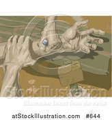 Vector Illustration of the Hands of Jesus Being Nailed to the Wooden Cross by AtStockIllustration