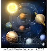 Vector Illustration of the Solar System with Orbit Rings by AtStockIllustration