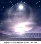 Vector Illustration of the Star of Bethlehem Shining over Mountains Nativity Desert Landscape by AtStockIllustration