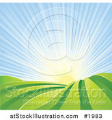 Vector Illustration of the Sun Rising over Green Hilly Farm Fields by AtStockIllustration