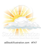 Vector Illustration of the Sun Shining Behind a Cloud by AtStockIllustration