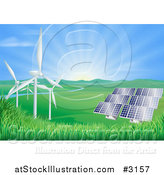 Vector Illustration of the Sun Shining over a Valley with Solar Panels and Wind Energy Turbines by AtStockIllustration