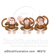 Vector Illustration of the Three Wise Monkeys Covering Their Ears, Eyes and Mouth, Hear No Evil, See No Evil, Speak No Evil by AtStockIllustration