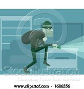Vector Illustration of Thief Burglar Robber Criminal Scene by AtStockIllustration