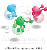 Vector Illustration of Three Bean Characters, One Blue, Green and Pink, Racing Eachother While Bouncing on Balls Clipart Illustration by AtStockIllustration