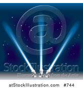 Vector Illustration of Three Bright Searchlights Shining into the Blue Night Sky by AtStockIllustration