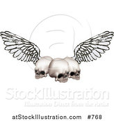 Vector Illustration of Three Human Skulls with Grunge Wings by AtStockIllustration