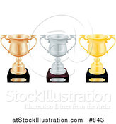 Vector Illustration of Three Trophy Cups, Bronze, Silver and Gold, Lined up in a Row over a White Background by AtStockIllustration