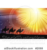 Vector Illustration of Three Wise Men Following the Star of Bethlehem in the Desert by AtStockIllustration