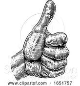 Vector Illustration of Thumb up Sign Hand Retro Vintage Woodcut by AtStockIllustration