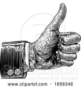 Vector Illustration of Thumbs up Hand Sign Retro Vintage Woodcut by AtStockIllustration