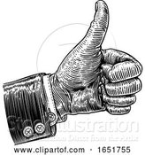 Vector Illustration of Thumbs up Hand Sign Vintage Retro Woodcut by AtStockIllustration