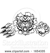 Vector Illustration of Tiger Angry Mascot Background Claws Breakthrough by AtStockIllustration