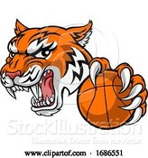 Vector Illustration of Tiger Baketball Player Animal Sports Mascot by AtStockIllustration