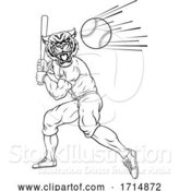 Vector Illustration of Tiger Baseball Player Mascot Swinging Bat at Ball by AtStockIllustration