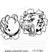 Vector Illustration of Tiger Bowling Player Animal Sports Mascot by AtStockIllustration