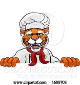 Vector Illustration of Tiger Chef Mascot Sign Character by AtStockIllustration