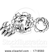 Vector Illustration of Tiger Cricket Player Animal Sports Mascot by AtStockIllustration