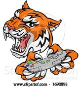 Vector Illustration of Tiger Gamer Video Game Controller Mascot by AtStockIllustration