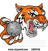 Vector Illustration of Tiger Golf Ball Player Animal Sports Mascot by AtStockIllustration