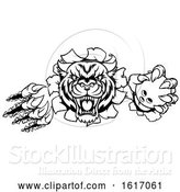 Vector Illustration of Tiger Holding Bowling Ball Breaking Background by AtStockIllustration