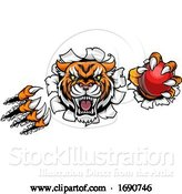 Vector Illustration of Tiger Holding Cricket Ball Breaking Background by AtStockIllustration