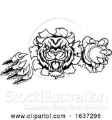 Vector Illustration of Tiger Holding Tennis Ball Breaking Background by AtStockIllustration
