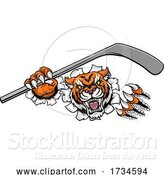 Vector Illustration of Tiger Ice Hockey Player Animal Sports Mascot by AtStockIllustration