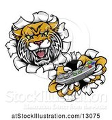 Vector Illustration of Tiger Mascot Playing a Video Game and Breaking Through a Wall by AtStockIllustration