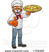Vector Illustration of Tiger Pizza Chef Restaurant Mascot by AtStockIllustration