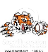 Vector Illustration of Tiger Tennis Player Animal Sports Mascot by AtStockIllustration