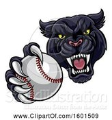 Vector Illustration of Tough Black Panther Monster Mascot Holding out a Baseball in One Clawed Paw by AtStockIllustration