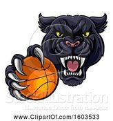 Vector Illustration of Tough Black Panther Monster Mascot Holding out a Basketball in One Clawed Paw by AtStockIllustration