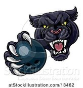 Vector Illustration of Tough Black Panther Monster Mascot Holding out a Bowling Ball in One Clawed Paw by AtStockIllustration