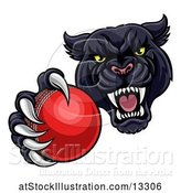 Vector Illustration of Tough Black Panther Monster Mascot Holding out a Cricket Ball in One Clawed Paw by AtStockIllustration