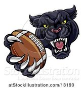 Vector Illustration of Tough Black Panther Monster Mascot Holding out a Football in One Clawed Paw by AtStockIllustration