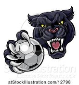Vector Illustration of Tough Black Panther Monster Mascot Holding out a Soccer Ball in One Clawed Paw by AtStockIllustration