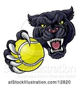 Vector Illustration of Tough Black Panther Monster Mascot Holding out a Tennis Ball in One Clawed Paw by AtStockIllustration