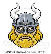 Vector Illustration of Tough Blond Male Viking Warrior Face Wearing a Horned Helmet by AtStockIllustration