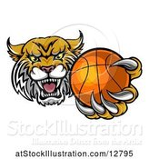 Vector Illustration of Tough Bobcat Lynx Monster Mascot Holding out a Baseball in One Clawed Paw by AtStockIllustration
