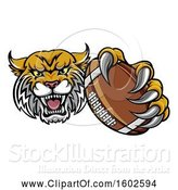Vector Illustration of Tough Bobcat Lynx Monster Mascot Holding out an American Football in One Clawed Paw by AtStockIllustration
