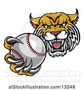 Vector Illustration of Tough Lynx Monster Mascot Holding out a Baseball in One Clawed Paw by AtStockIllustration