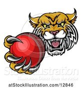 Vector Illustration of Tough Lynx Monster Mascot Holding out a Cricket Ball in One Clawed Paw by AtStockIllustration