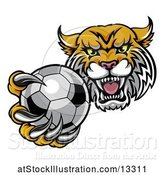 Vector Illustration of Tough Lynx Monster Mascot Holding out a Soccer Ball in One Clawed Paw by AtStockIllustration