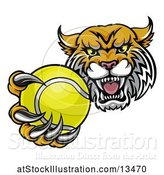 Vector Illustration of Tough Lynx Monster Mascot Holding out a Tennis Ball in One Clawed Paw by AtStockIllustration