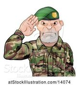 Vector Illustration of Tough Male Soldier Saluting and Wearing a Green Beret by AtStockIllustration
