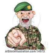 Vector Illustration of Tough Male Soldier Wearing a Green Beret, Shouting and Pointing Outwards by AtStockIllustration